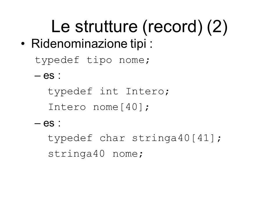 Le strutture (record) (2) Ridenominazione tipi : typedef tipo nome; –es : typedef int Intero; Intero nome[40]; –es : typedef char stringa40[41]; stringa40 nome;