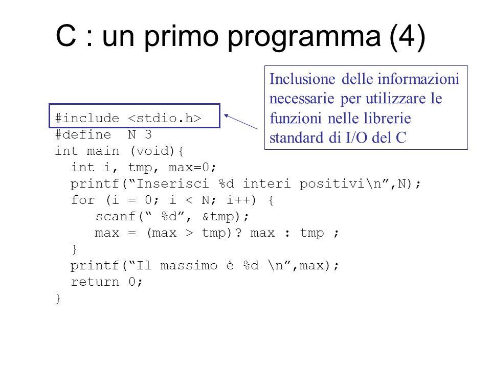 I tipi di dato primitivi Interi : short, int, long, –2,4,8,16 byte (dipende dalla implementazione) –segnaposto %d rappresentazione decimale %x,%o rappresentazione esadecimale o ottale –costanti intere : 1, -2, 4565 –La funzione predefinita sizeof() fornisce la lunghezza in byte di un qualsiasi tipo o variabile C es.