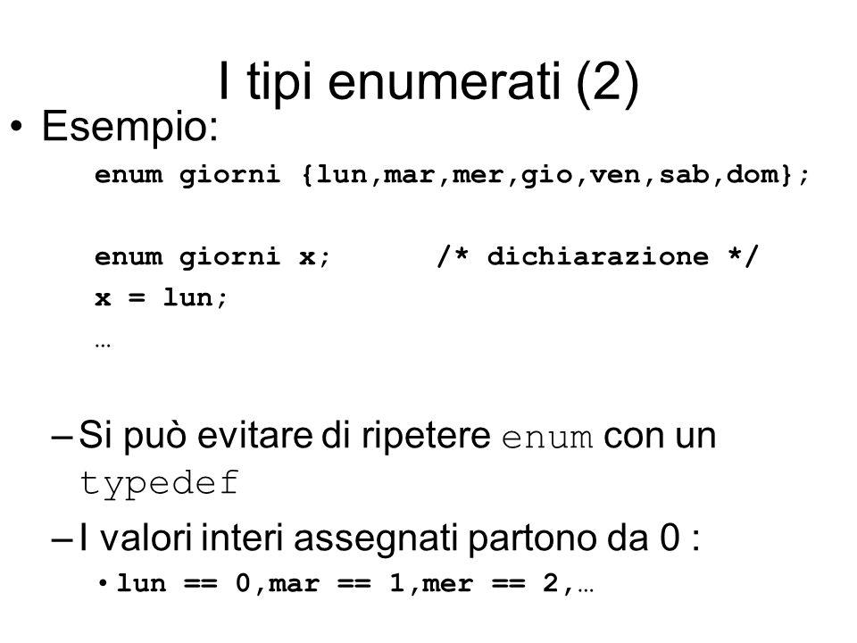 I tipi enumerati (2) Esempio: enum giorni {lun,mar,mer,gio,ven,sab,dom}; enum giorni x; /* dichiarazione */ x = lun; … –Si può evitare di ripetere enum con un typedef –I valori interi assegnati partono da 0 : lun == 0,mar == 1,mer == 2,…