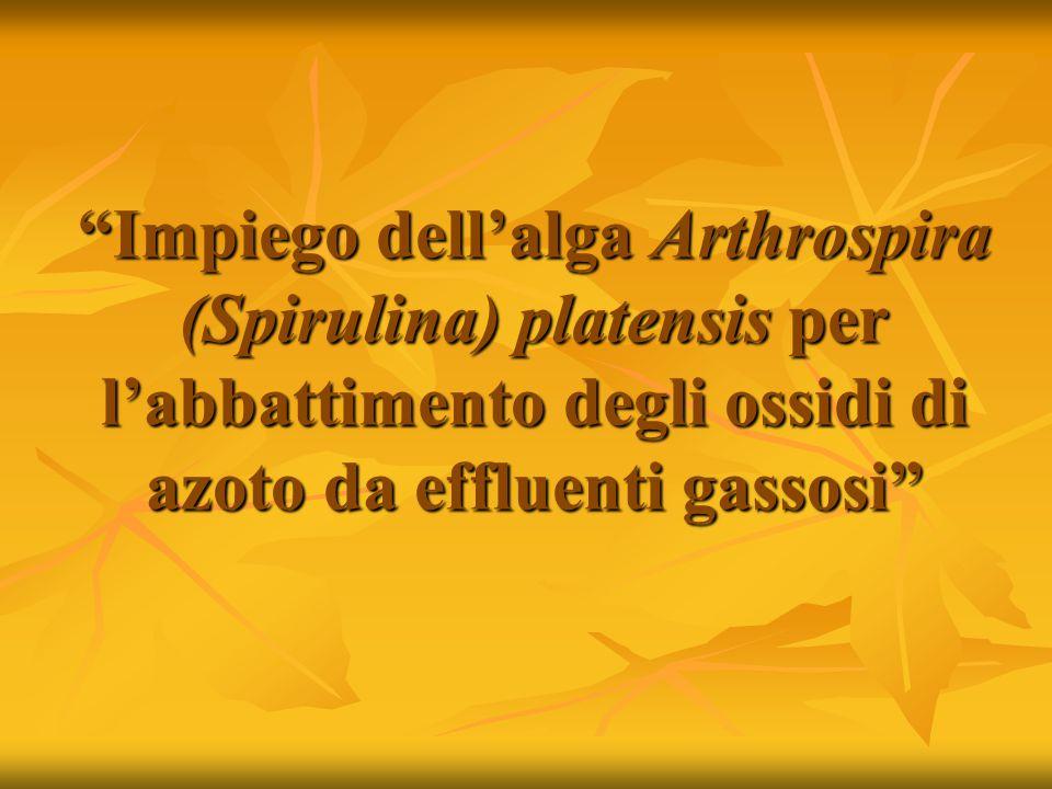 Impiego dell'alga Arthrospira (Spirulina) platensis per l'abbattimento degli ossidi di azoto da effluenti gassosi