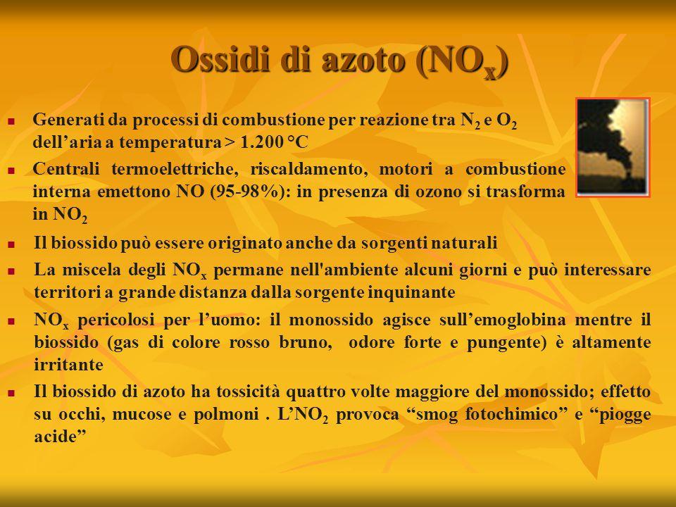 Ossidi di azoto (NO x ) Generati da processi di combustione per reazione tra N 2 e O 2 dell'aria a temperatura > 1.200 °C Centrali termoelettriche, riscaldamento, motori a combustione interna emettono NO (95-98%): in presenza di ozono si trasforma in NO 2 Il biossido può essere originato anche da sorgenti naturali La miscela degli NO x permane nell ambiente alcuni giorni e può interessare territori a grande distanza dalla sorgente inquinante NO x pericolosi per l'uomo: il monossido agisce sull'emoglobina mentre il biossido (gas di colore rosso bruno, odore forte e pungente) è altamente irritante Il biossido di azoto ha tossicità quattro volte maggiore del monossido; effetto su occhi, mucose e polmoni.