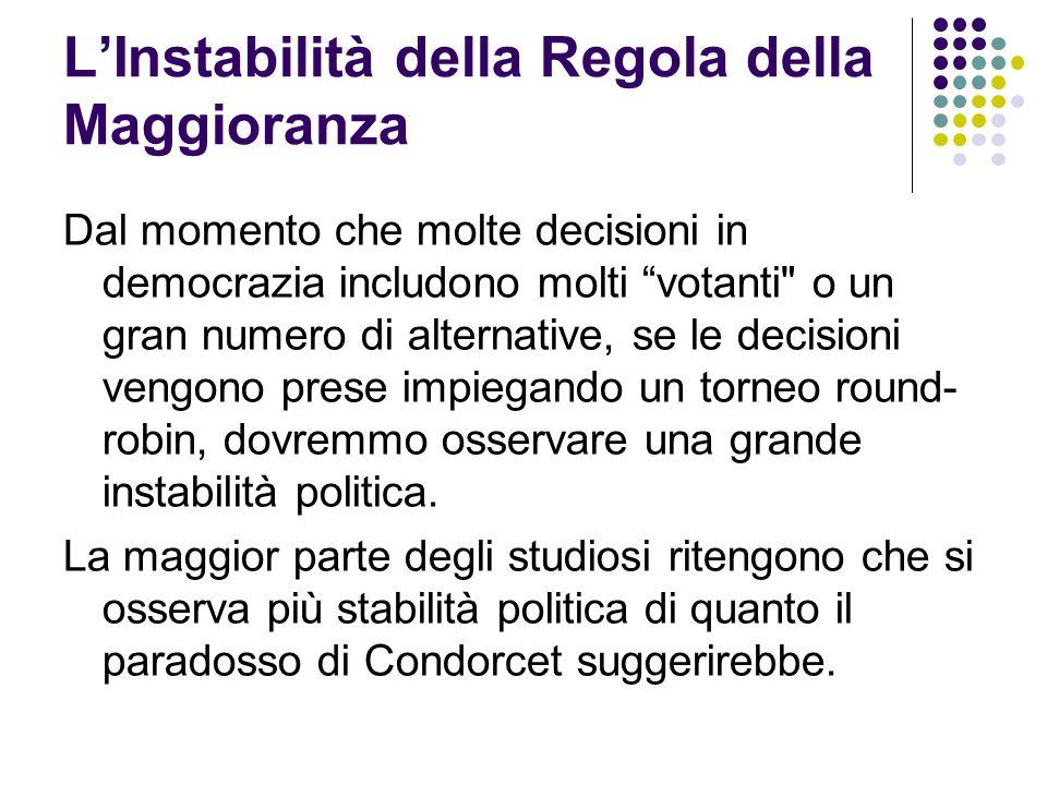 """L'Instabilità della Regola della Maggioranza Dal momento che molte decisioni in democrazia includono molti """"votanti"""
