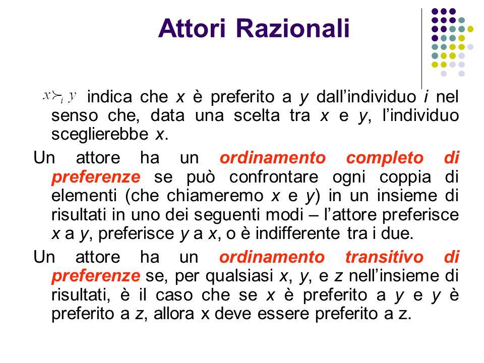 Attori Razionali indica che x è preferito a y dall'individuo i nel senso che, data una scelta tra x e y, l'individuo sceglierebbe x. Un attore ha un o