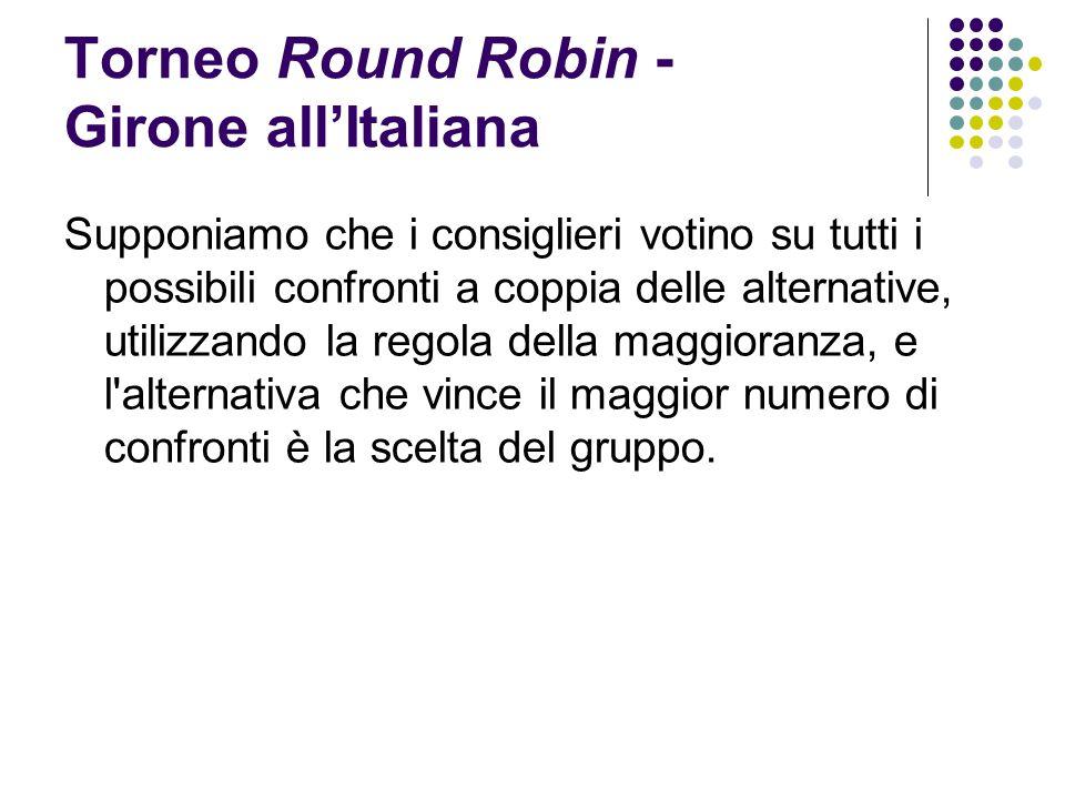 Torneo Round Robin - Girone all'Italiana Supponiamo che i consiglieri votino su tutti i possibili confronti a coppia delle alternative, utilizzando la
