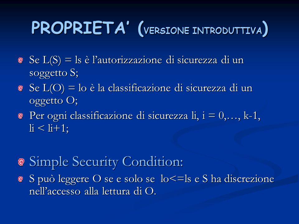 PROPRIETA' ( VERSIONE INTRODUTTIVA ) Se L(S) = ls è l'autorizzazione di sicurezza di un soggetto S; Se L(O) = lo è la classificazione di sicurezza di