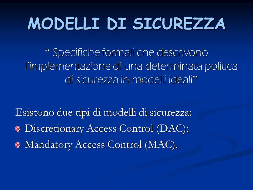 """MODELLI DI SICUREZZA """" Specifiche formali che descrivono l'implementazione di una determinata politica di sicurezza in modelli ideali """" Esistono due t"""