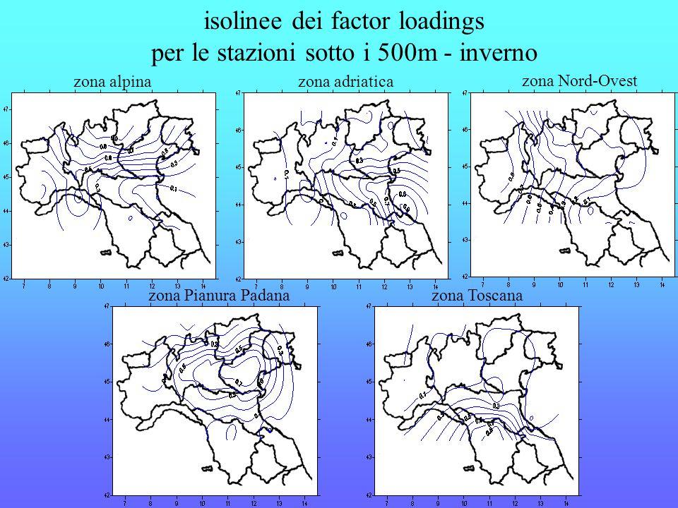 isolinee dei factor loadings per le stazioni sotto i 500m - inverno zona alpinazona adriatica zona Nord-Ovest zona Pianura Padanazona Toscana