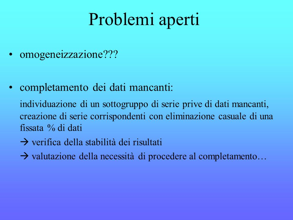 Problemi aperti omogeneizzazione .