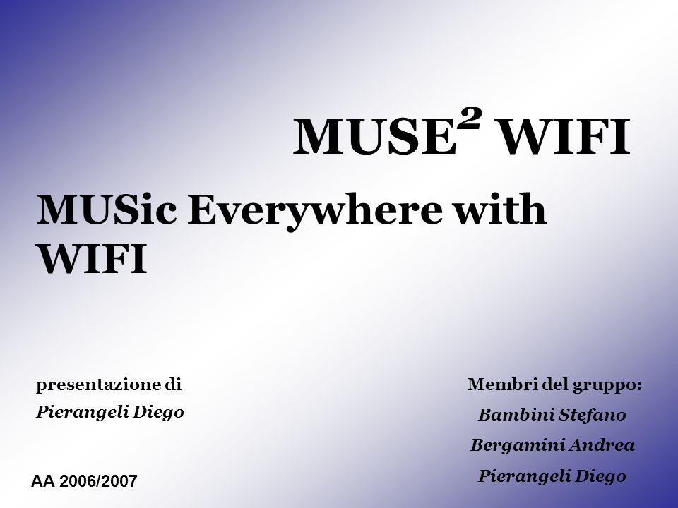 MUSE 2 WIFI MUSic Everywhere with WIFI presentazione di Pierangeli Diego Membri del gruppo: Bambini Stefano Bergamini Andrea Pierangeli Diego AA 2006/2007