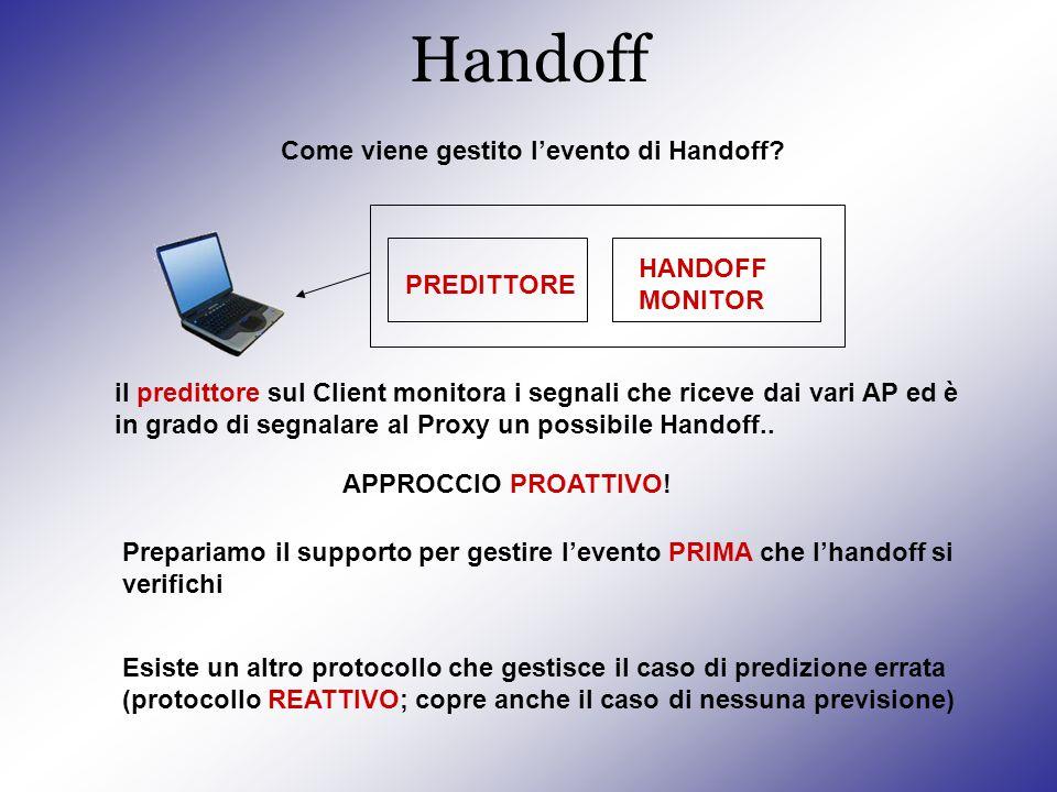 Handoff il predittore sul Client monitora i segnali che riceve dai vari AP ed è in grado di segnalare al Proxy un possibile Handoff..
