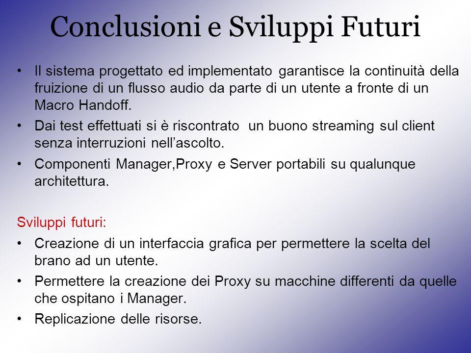 Conclusioni e Sviluppi Futuri Il sistema progettato ed implementato garantisce la continuità della fruizione di un flusso audio da parte di un utente a fronte di un Macro Handoff.