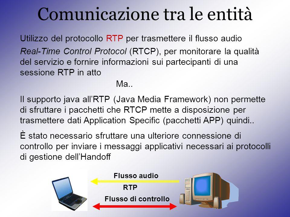Comunicazione tra le entità Utilizzo del protocollo RTP per trasmettere il flusso audio Ma..