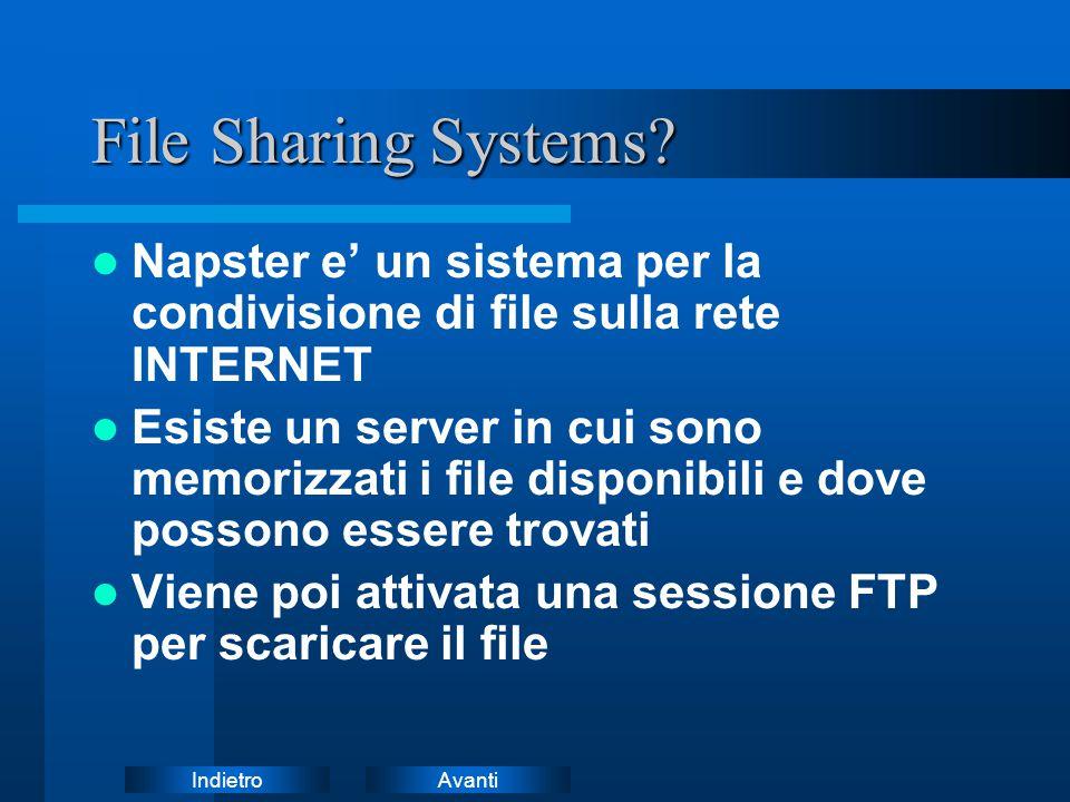 AvantiIndietro File Sharing Systems? Napster e' un sistema per la condivisione di file sulla rete INTERNET Esiste un server in cui sono memorizzati i