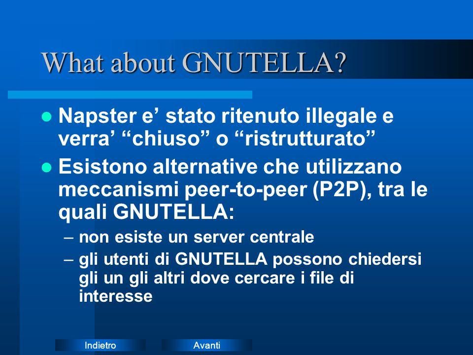 """AvantiIndietro What about GNUTELLA? Napster e' stato ritenuto illegale e verra' """"chiuso"""" o """"ristrutturato"""" Esistono alternative che utilizzano meccani"""