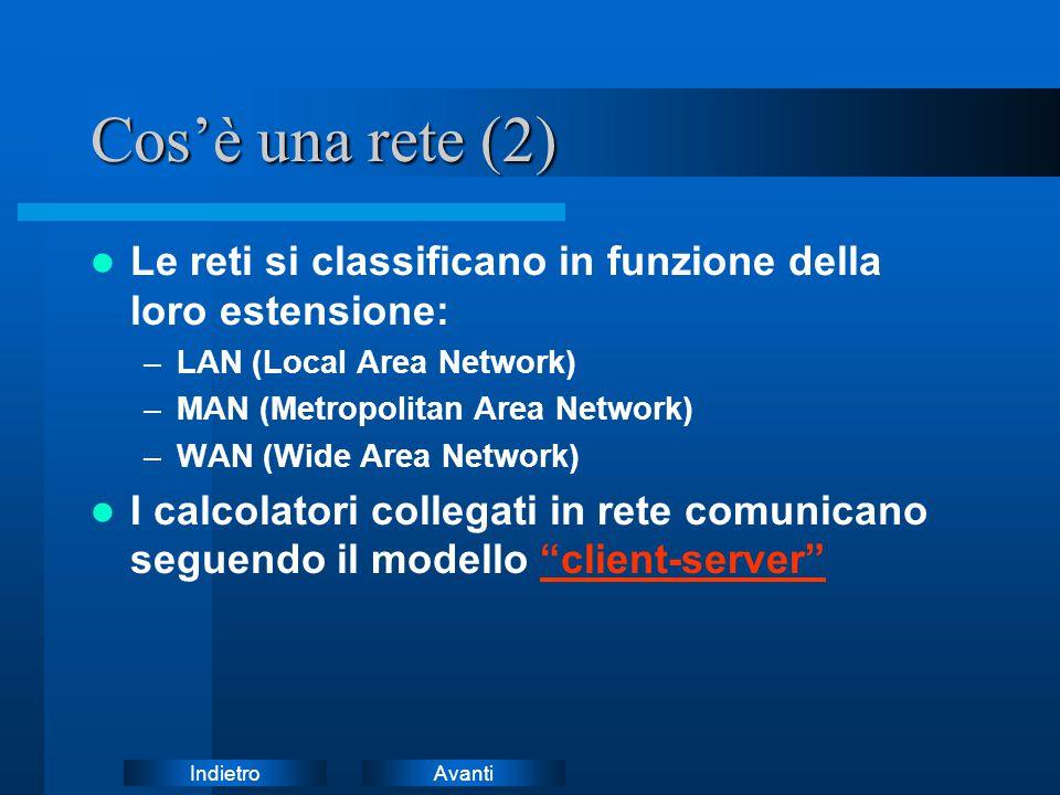 AvantiIndietro Cos'è una rete (2) Le reti si classificano in funzione della loro estensione: –LAN (Local Area Network) –MAN (Metropolitan Area Network) –WAN (Wide Area Network) I calcolatori collegati in rete comunicano seguendo il modello client-server client-server