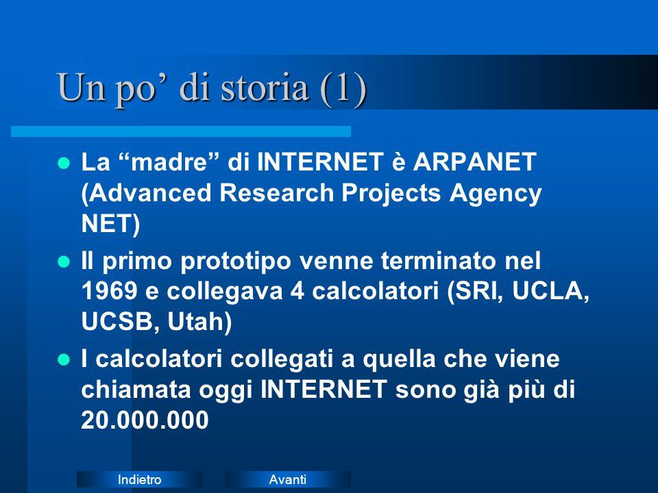 AvantiIndietro Un po' di storia (2) Nei suoi primi anni la rete era un esperimento informatico gestito ed in uso a soli ricercatori Negli anni '90 la rete assume una valenza di infrastruttura globale con implicazioni economiche e sociali su larga scala