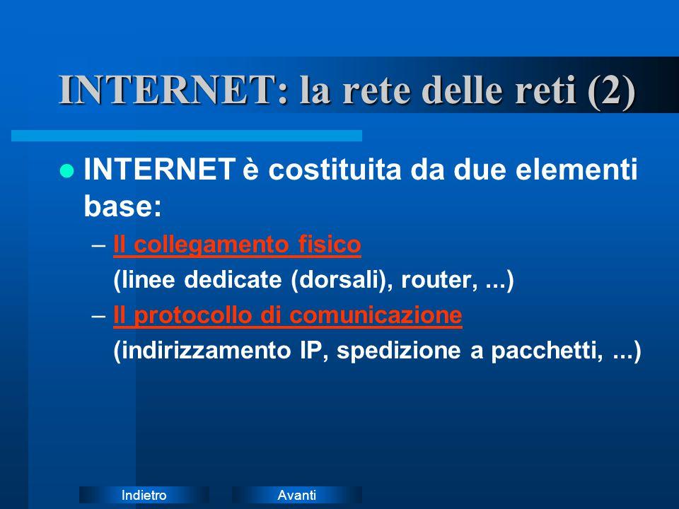AvantiIndietro INTERNET: la rete delle reti (2) INTERNET è costituita da due elementi base: –Il collegamento fisicoIl collegamento fisico (linee dedic