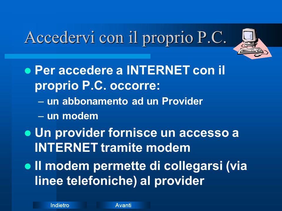 AvantiIndietro Accedervi con il proprio P.C. Per accedere a INTERNET con il proprio P.C. occorre: –un abbonamento ad un Provider –un modem Un provider