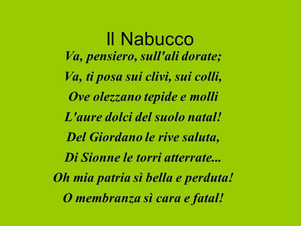 Il Nabucco Va, pensiero, sull ali dorate; Va, ti posa sui clivi, sui colli, Ove olezzano tepide e molli L aure dolci del suolo natal.