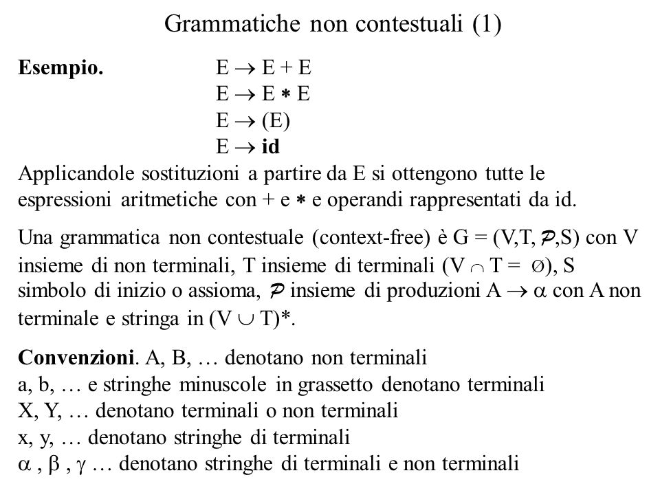 Grammatiche non contestuali (1) Esempio. E  E + E E  E  E E  (E) E  id Applicandole sostituzioni a partire da E si ottengono tutte le espressioni