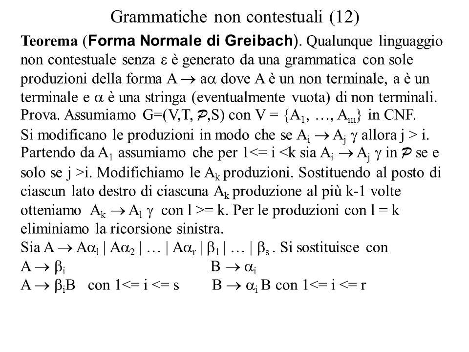 Grammatiche non contestuali (12) Teorema ( Forma Normale di Greibach). Qualunque linguaggio non contestuale senza  è generato da una grammatica con s