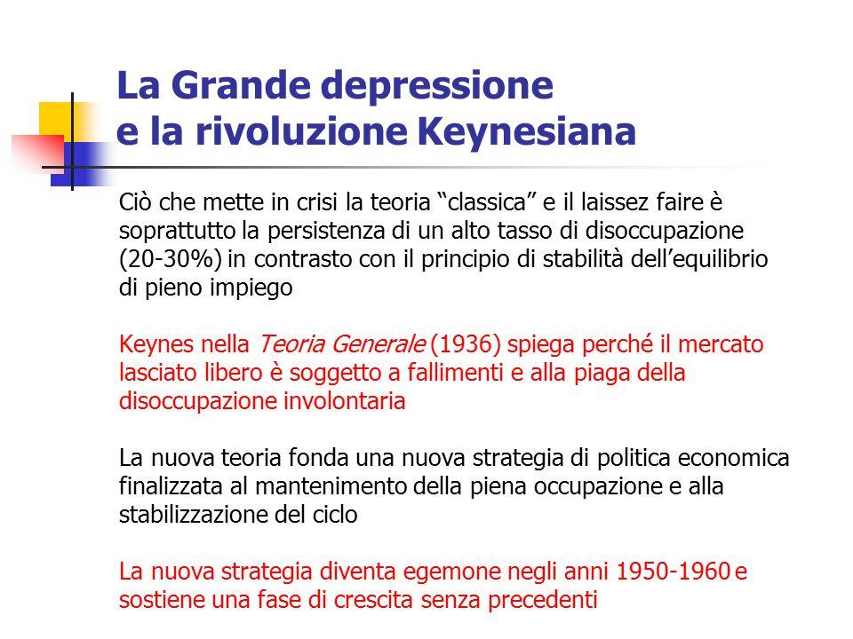 """La Grande depressione e la rivoluzione Keynesiana Ciò che mette in crisi la teoria """"classica"""" e il laissez faire è soprattutto la persistenza di un al"""