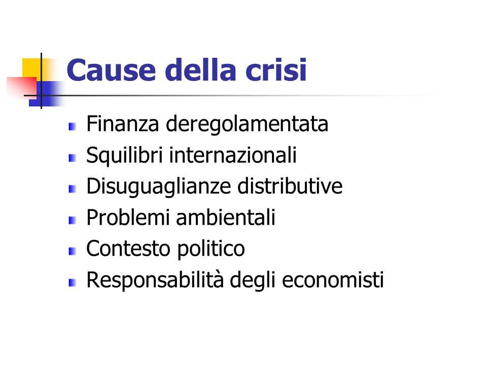 Cause della crisi Finanza deregolamentata Squilibri internazionali Disuguaglianze distributive Problemi ambientali Contesto politico Responsabilità de