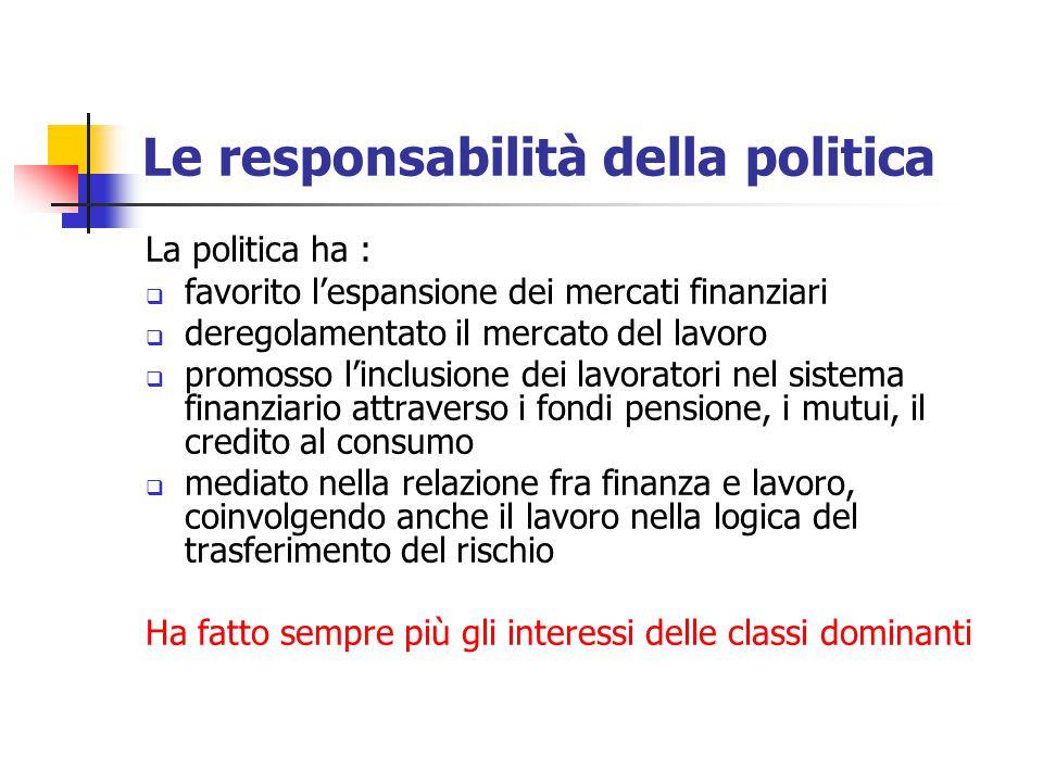 Le responsabilità della politica La politica ha :  favorito l'espansione dei mercati finanziari  deregolamentato il mercato del lavoro  promosso l'