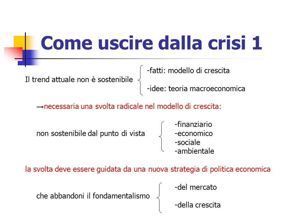 Come uscire dalla crisi 1 -fatti: modello di crescita Il trend attuale non è sostenibile -idee: teoria macroeconomica → necessaria una svolta radicale