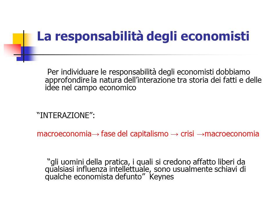 La responsabilità degli economisti Per individuare le responsabilità degli economisti dobbiamo approfondire la natura dell'interazione tra storia dei