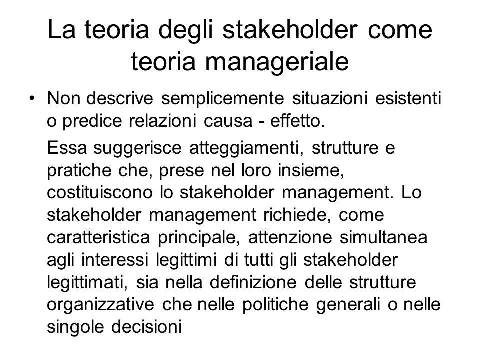La teoria degli stakeholder come teoria manageriale Non descrive semplicemente situazioni esistenti o predice relazioni causa - effetto.