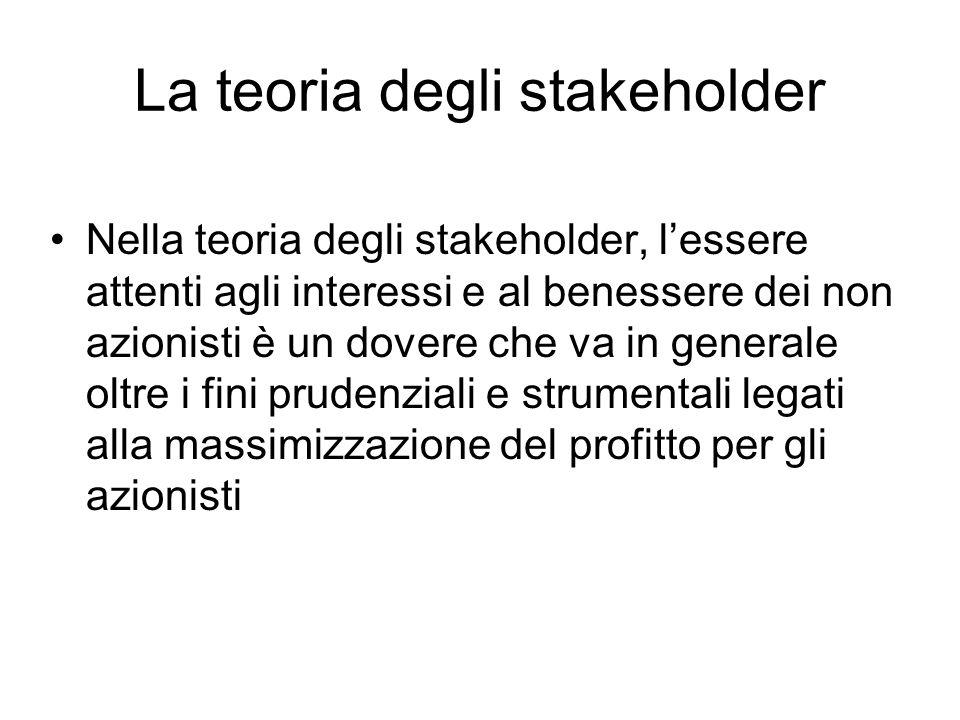 La teoria degli stakeholder Nella teoria degli stakeholder, l'essere attenti agli interessi e al benessere dei non azionisti è un dovere che va in generale oltre i fini prudenziali e strumentali legati alla massimizzazione del profitto per gli azionisti
