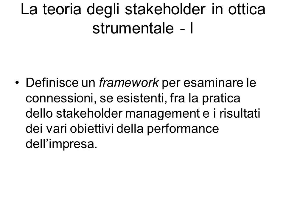 La teoria degli stakeholder in ottica strumentale - I Definisce un framework per esaminare le connessioni, se esistenti, fra la pratica dello stakeholder management e i risultati dei vari obiettivi della performance dell'impresa.