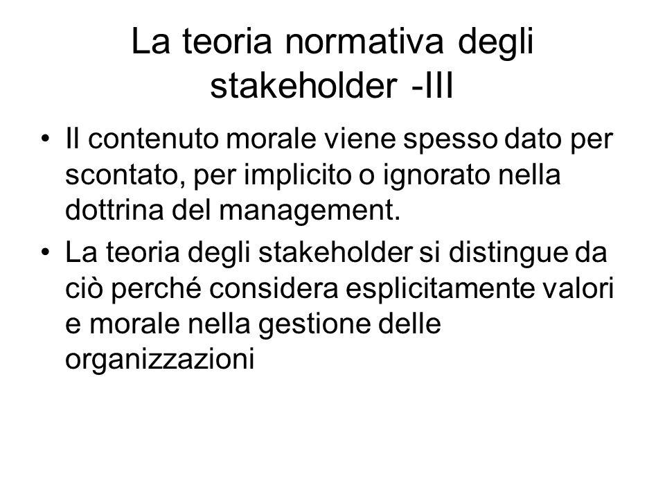 La teoria normativa degli stakeholder -III Il contenuto morale viene spesso dato per scontato, per implicito o ignorato nella dottrina del management.