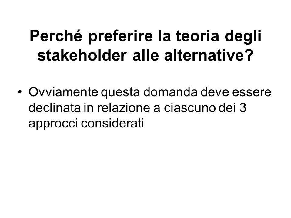 Perché preferire la teoria degli stakeholder alle alternative.