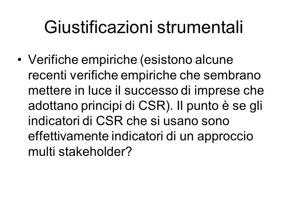 Giustificazioni strumentali Verifiche empiriche (esistono alcune recenti verifiche empiriche che sembrano mettere in luce il successo di imprese che adottano principi di CSR).
