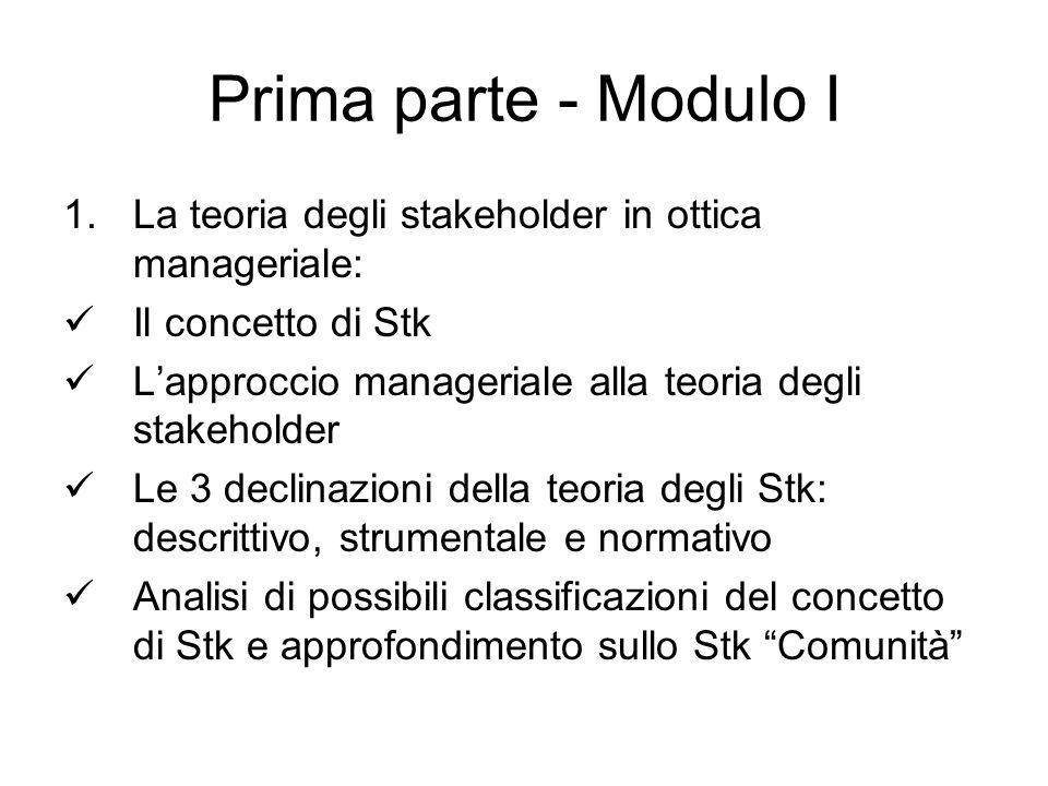 La teoria descrittiva degli stakeholder Presenta un modello in cui si descrive cosa è l'impresa.