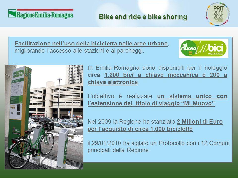Bike and ride e bike sharing Facilitazione nell'uso della bicicletta nelle aree urbane, migliorando l'accesso alle stazioni e ai parcheggi. Nel 2009 l