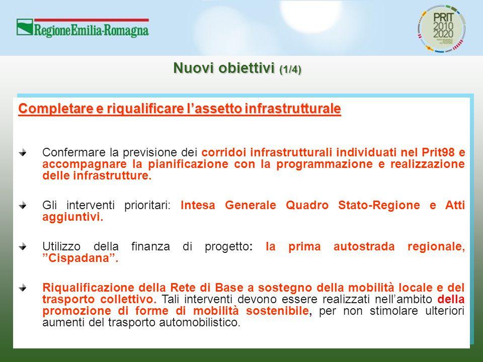 Nuovi obiettivi (1/4) Completare e riqualificare l'assetto infrastrutturale Confermare la previsione dei corridoi infrastrutturali individuati nel Pri