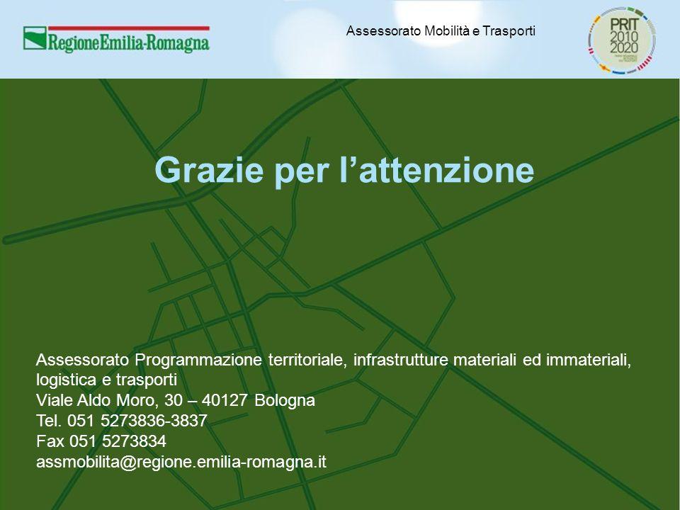 Assessorato Mobilità e Trasporti Grazie per l'attenzione Assessorato Programmazione territoriale, infrastrutture materiali ed immateriali, logistica e