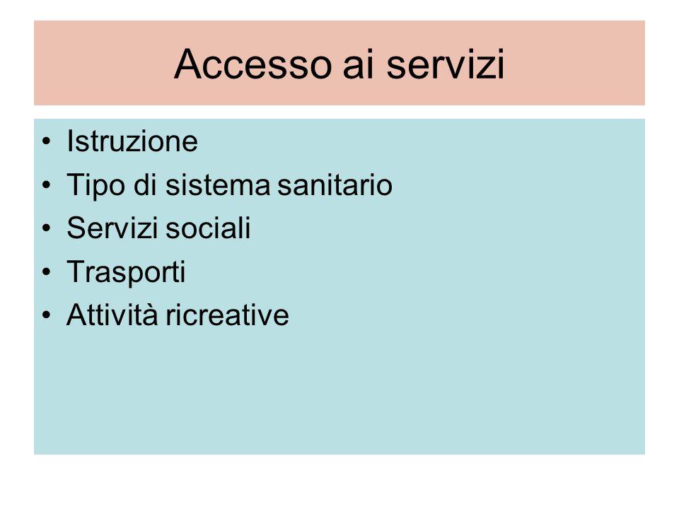 Accesso ai servizi Istruzione Tipo di sistema sanitario Servizi sociali Trasporti Attività ricreative