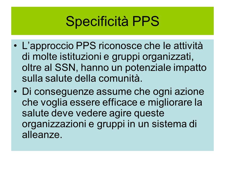 Specificità PPS L'approccio PPS riconosce che le attività di molte istituzioni e gruppi organizzati, oltre al SSN, hanno un potenziale impatto sulla salute della comunità.