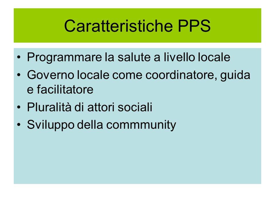 Caratteristiche PPS Programmare la salute a livello locale Governo locale come coordinatore, guida e facilitatore Pluralità di attori sociali Sviluppo della commmunity