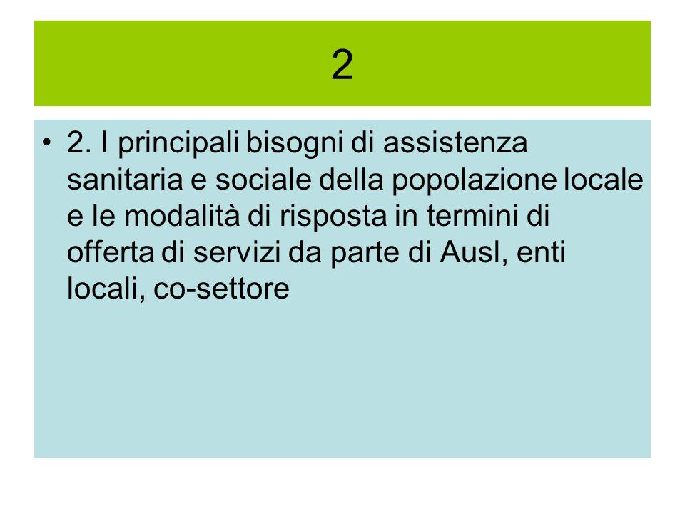 2 2. I principali bisogni di assistenza sanitaria e sociale della popolazione locale e le modalità di risposta in termini di offerta di servizi da par