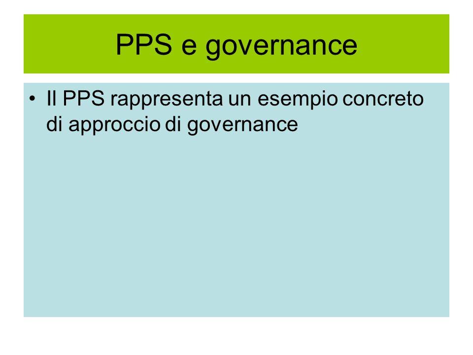 PPS e governance Il PPS rappresenta un esempio concreto di approccio di governance