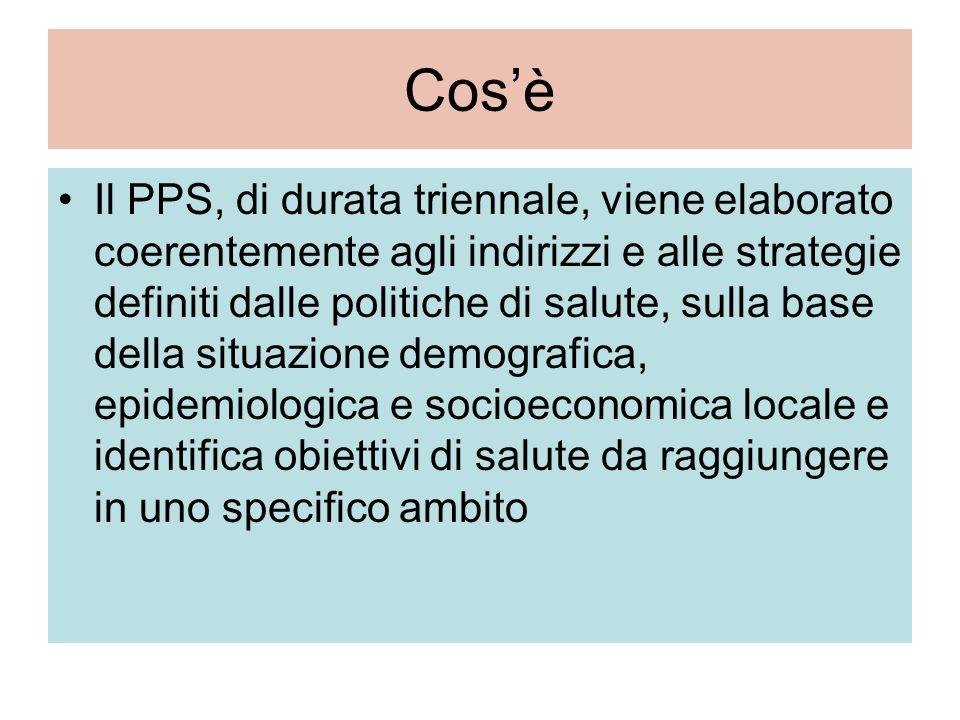 Cos'è Il PPS, di durata triennale, viene elaborato coerentemente agli indirizzi e alle strategie definiti dalle politiche di salute, sulla base della situazione demografica, epidemiologica e socioeconomica locale e identifica obiettivi di salute da raggiungere in uno specifico ambito