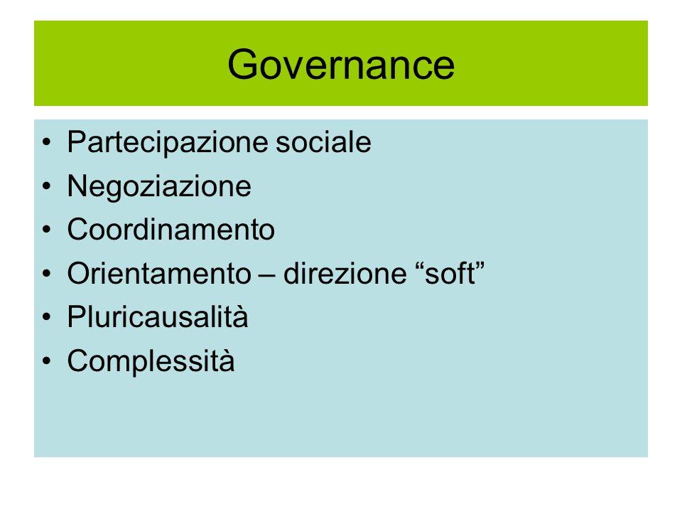 Governance Partecipazione sociale Negoziazione Coordinamento Orientamento – direzione soft Pluricausalità Complessità