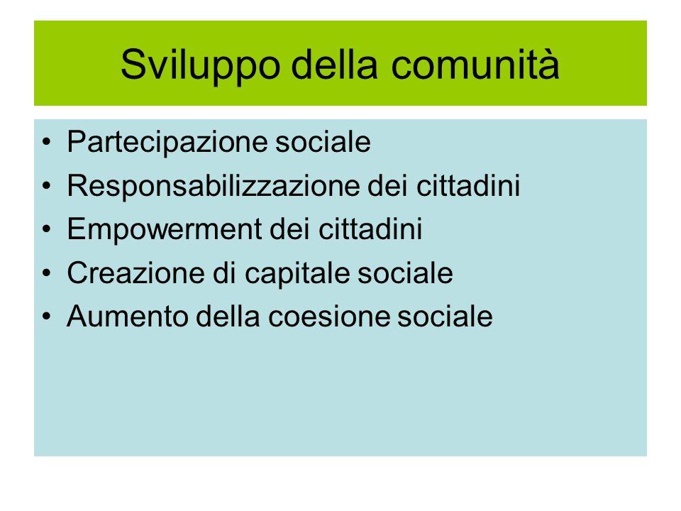 Sviluppo della comunità Partecipazione sociale Responsabilizzazione dei cittadini Empowerment dei cittadini Creazione di capitale sociale Aumento della coesione sociale