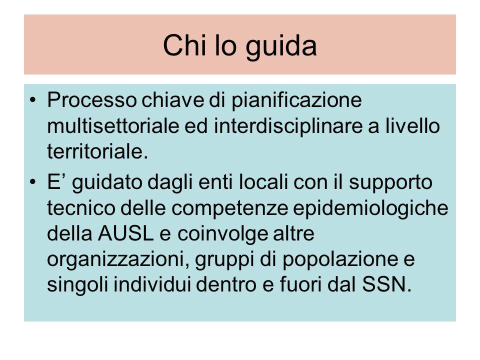 Chi lo guida Processo chiave di pianificazione multisettoriale ed interdisciplinare a livello territoriale.