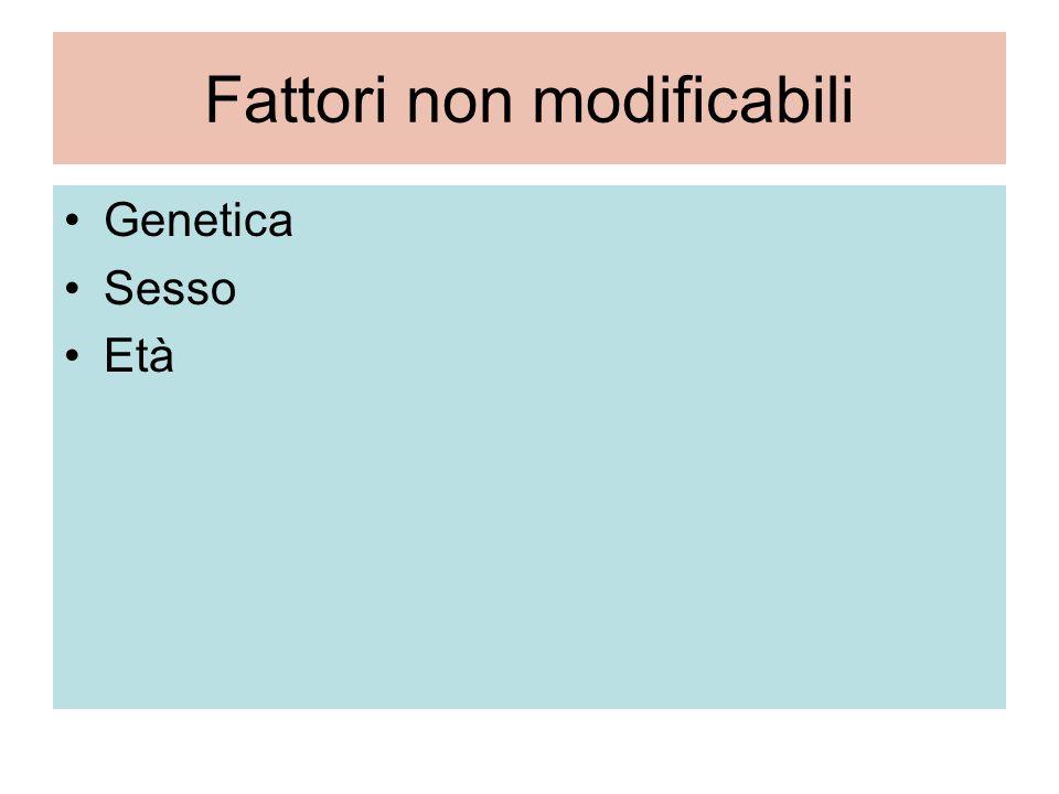 Fattori non modificabili Genetica Sesso Età